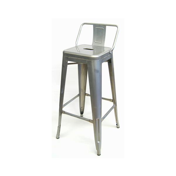 Galvanized silver finish low back tolix bar stool - Tolix low back bar stool ...