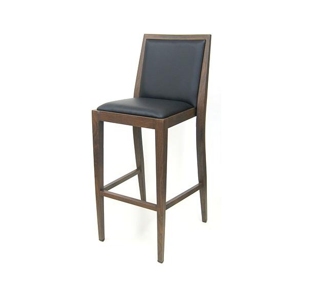 Costata Upholstered Bar Stool Metal Wood Grain Finish