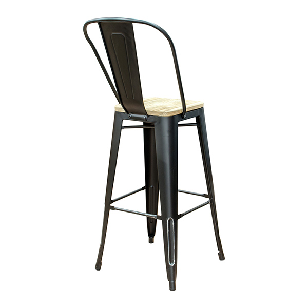 Terrific Black Weathered High Back Wood Seat Tolix Bar Stool Gmtry Best Dining Table And Chair Ideas Images Gmtryco